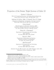 Properties of the Steiner Triple Systems of Order 19 - The Electronic ...