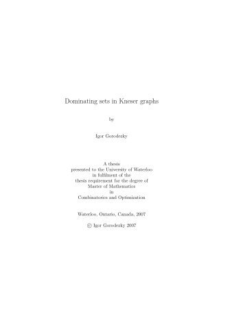 Dominating sets in Kneser graphs - UWSpace - University of Waterloo