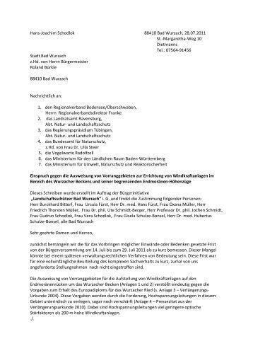 Stellungnahme vom 28.07.2011 - Der Wurzacher
