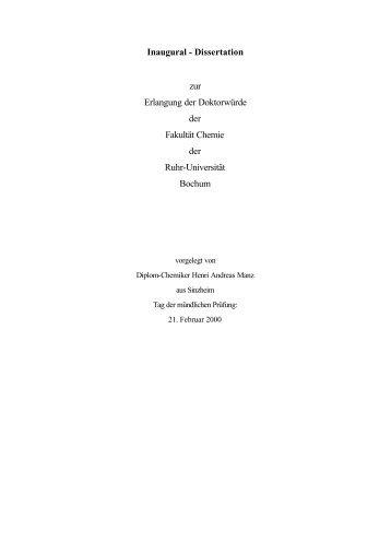 Dissertation zur Erlangung der Doktorwürde der Fakultät Chemie