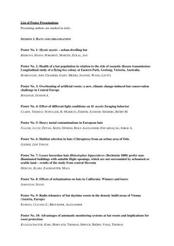 List of Poster Presentations Presenting authors are marked in ... - IZW