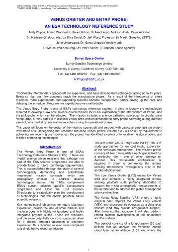 VENUS ORBITER AND ENTRY PROBE: AN ESA ... - Robotics - ESA
