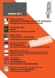 Neuerscheinungen Herbst 2011 - Prolit Verlagsauslieferung GmbH