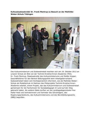 Kultusstaatssekretär Dr. Frank Mentrup zu Besuch an der Mathilde ...