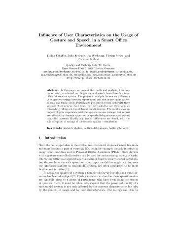 Influence of User Characteristics on the Usage of Gesture and ...