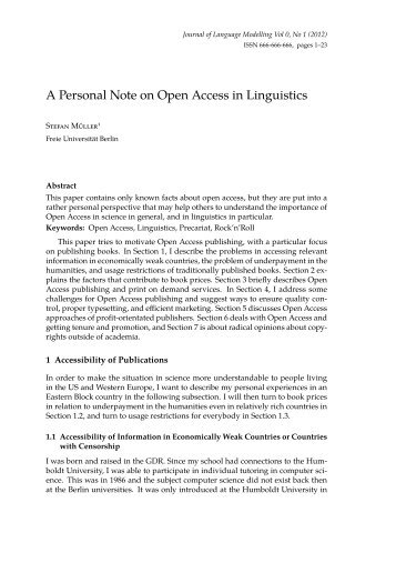 Open Access - German Grammar Group FU Berlin - Freie Universität ...
