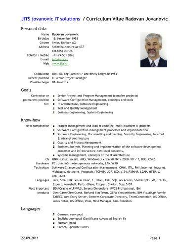 JITS jovanovic IT solutions / Curriculum Vitae Radovan Jovanovic