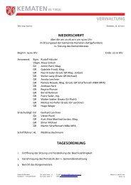 NIEDERSCHRIFT TAGESORDNUNG - Gemeinde Kematen in Tirol