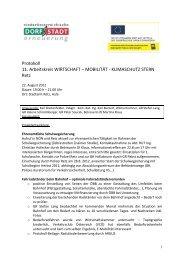 Protokoll 11. Arbeitskreis WIRTSCHAFT – MOBILITÄT ... - Retz