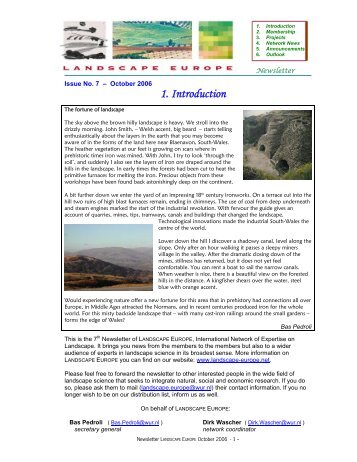 Newsletter October 2006 - Landscape Europe