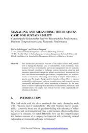 managing and measuring the business case for sustainability