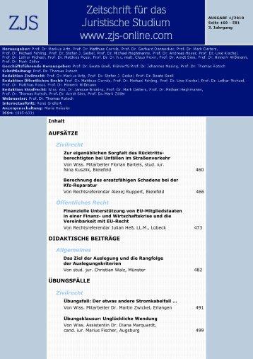 Zeitschrift Für Das Juristische - ZJS