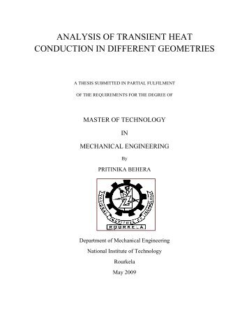 analysis of transient heat conduction in different geometries - ethesis ...