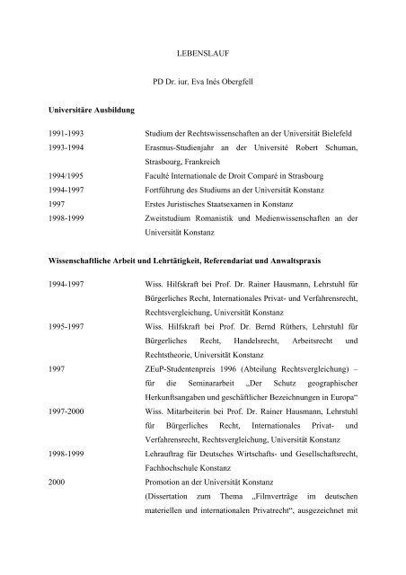 Lebenslauf Und Schriftenverzeichnis Jura Universitat Mannheim