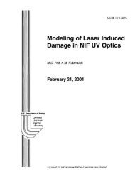 Modeling of Laser Induced Damage in NIF UV Optics