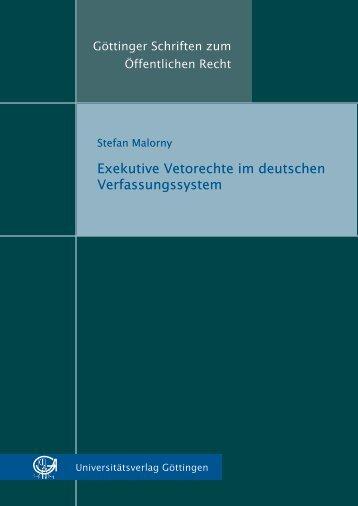 Exekutive Vetorechte im deutschen Verfassungssystem - Oapen