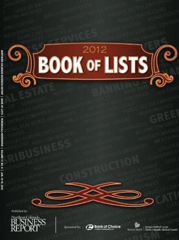 NCBR 2012 Book of Lists   www.NCBR.com - Digital Publishing