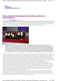 HSMA verleiht den Marketingaward SAM 2008 an ... - Viva Creativo