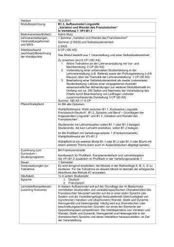 B1.3, Aufbaumodul Linguistik: Variation und Wandel des ...