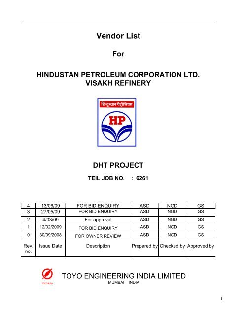 Vendor List - Hindustan Petroleum Corporation Limited