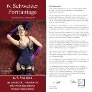 6. Schweizer Portraittage - FotoWerkstatt M. Belz, W. Kornfeld GbR