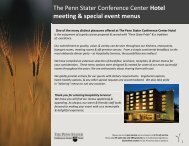 Event menus - The Penn Stater Hotel