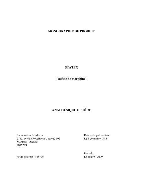 MONOGRAPHIE DE PRODUIT STATEX Sulfate De