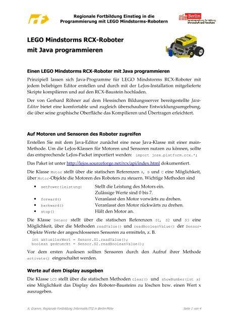 Lego Mindstorms Rcx Roboter Mit Java Programmieren