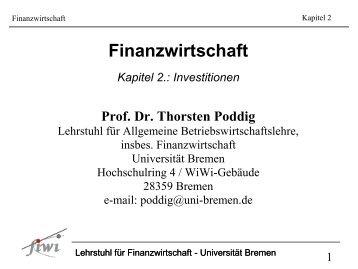 Kapitel 2 - Lehrstuhl für Finanzwirtschaft - Universität Bremen
