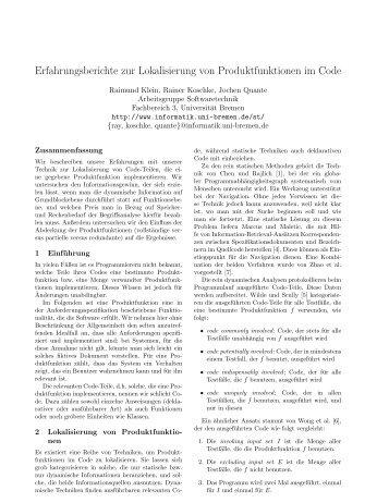 ansehen - Informatik - Universität Bremen