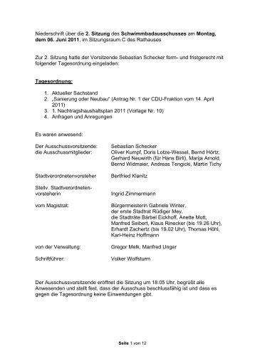 Niederschrift über die 6. Sitzung des ... - Stadt Griesheim
