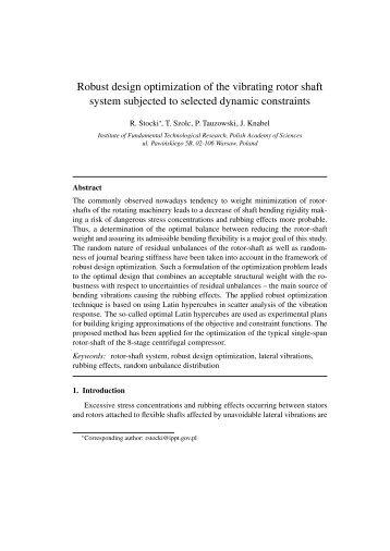 Robust design optimization of the vibrating rotor shaft system ...