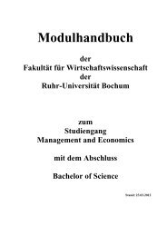 Modulhandbuch - Studiendekanat Wirtschaftswissenschaft - Ruhr ...