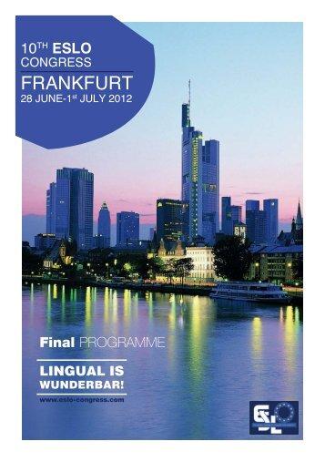 Final PROGRAMME - ESLO 2012