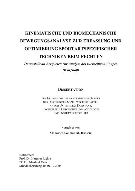 kinematische und biomechanische bewegungsanalyse - KOPS ...