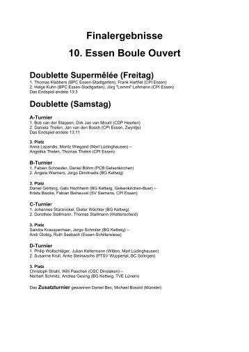 Finalergebnisse 10. Essen Boule Ouvert
