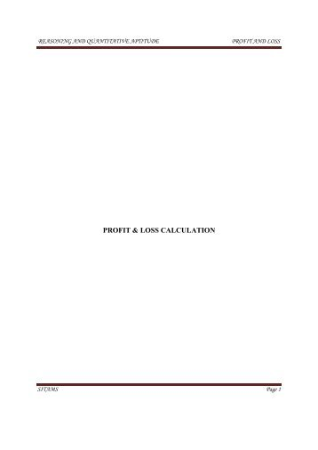 PROFIT & LOSS CALCULATION - Sitams.org