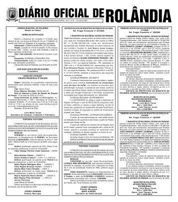 DIÁRIO OFICIAL DE - Prefeitura do município de Rolândia