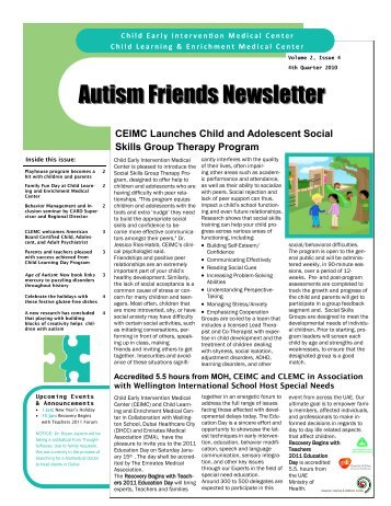 Autism Friends Newsletter - Child Early Intervention Medical Center