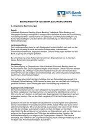 Bedingungen für Electronic Banking - VR-Bank Braunau