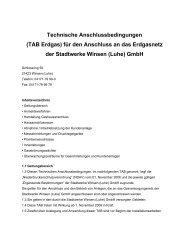 Technische Anschlussbedingungen TAB Erdgas - Stadtwerke Winsen