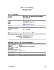Land Brandenburg Company Profile DESCRIPTION OF THE ...