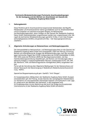 Technische Mindestanforderungen/Technische - Netze der ...