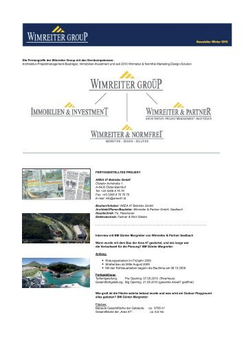 Archiv Newsletter Winter 2010 - Wimreiter Group