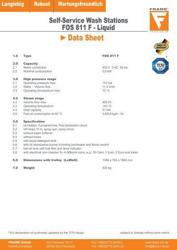 Data Sheet - FRANK GmbH Hochdruckreiniger