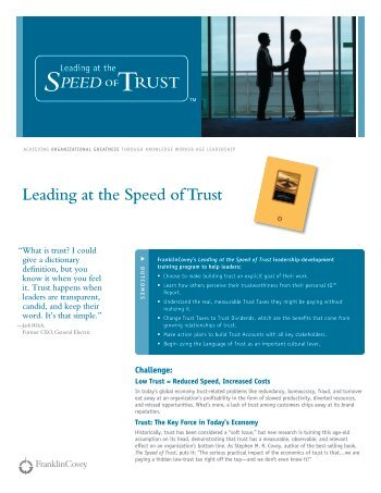 Leading at the Speed of Trust leadership ... - Franklin Covey