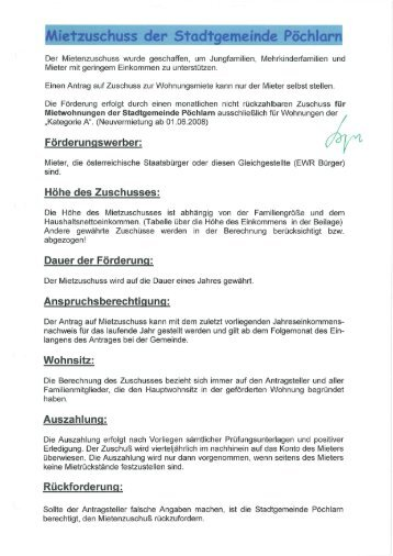 Formular - Stadtgemeinde Pöchlarn