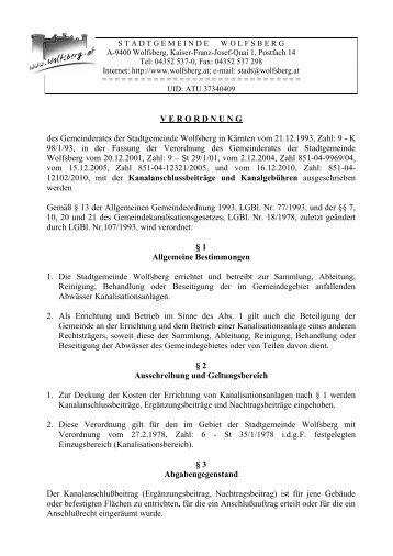 Verordnung Kanalanschlussbeiträge und ... - Stadt Wolfsberg