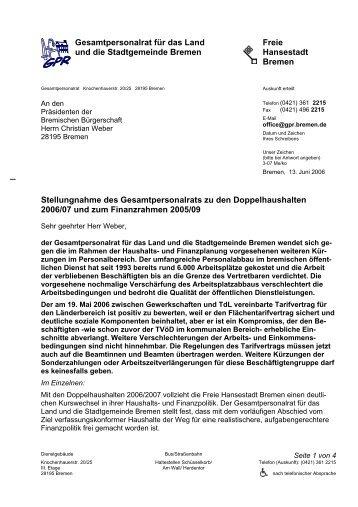 Gesamtpersonalrat für das Land und die Stadtgemeinde Bremen ...