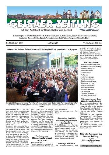 Heimatzeitung für die Orte Apfelbach, Bermbach ... - Geisaer Zeitung